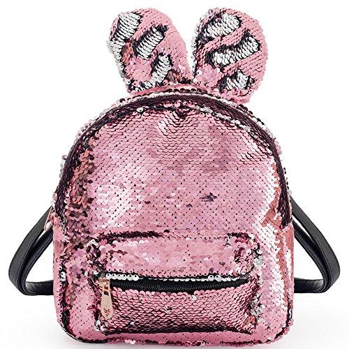 Meerjungfrau Pailetten Tasche mit Haseohren Rucksack mit DIY Glitzernde Umkehrbare Paillette Rucksäcke Schulranzen Tagesrucksack für Kinder Mädchen Damen LONGBLE (pink)