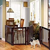 New MTN-G 30 Configurable Folding Free Standing 4 Panel Wood Pet Dog Safety Fence w/Gate