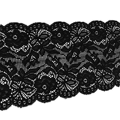 Homyl Vintage Elastische Spitzenborte Spitzenband Besatz Nähzubehör Applikation Häkel-Borte Spitze Nähen Dekoration - Schwarz, 14cm*455cm