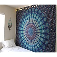 Large Blue Mandala Tapestry Wall Hanging ,Boho Tapestry Throw Hippie, Queen Bedspread ,Indian Cotton Throw,Elephant Tapestries,Bohemian Bedding, Meditation Yoga