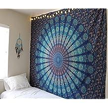 Tapices de pared color azul tipo mandala de doble tamaño, diseño de pavo real, psicodélico, ropa de cama estilo indio, colgante de pared bohemio, cubierta de cama de estampado floral, tapiz hippie de raajsee (5484)