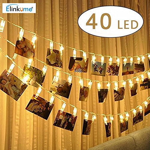 Foto-lampen (ELINKUME® LED Foto Clip Lichterkette,40 Photo Clips Warmweiß Lampe String, 5,2 Meter/17,1 Füße, Batteriebetrieben, Perfekt für hängende Bilder, Notizen, Artwork, Memos)
