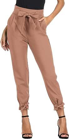 GRACE KARIN Pantalon Crayon Femme Taille élastique Bow-Knot Mode Coupe Slim