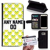 Case88 [Samsung Galaxy S7] Custodia in PU Pelle, Supporto Stand e Porta Carte Integrati Portafoglio Flip Cover - Personalizzata Sports Design Girls Lacrosse DSE0197