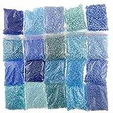 Roccailles Rocailles Perlen Blau Set 2mm 3mm 4mm 6mm Rund und Stift Glasperlen 20 Pack 400g für Kette Bastelset Seed Beads AM21