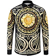 78f48457e0a Pizoff Chemise Homme à Belle Impression Graffitis Luxury Design Dress Shirt  Chemise de Fantaisie Y1792