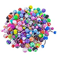 bismarckbeer 30Pcs Mixed Color Belly Bars Button Ring Navel Barbell Body Piercing Jewellery