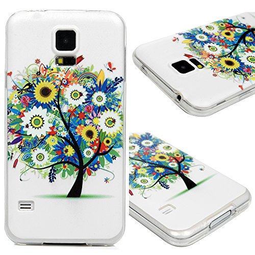 Edauto für Samsung Galaxy S5 9600 Hülle Silikon Case Ultra Dünn Handyhülle Schutzhülle Transparent Handyschale Handytasche Malen Tasche TPU Durchsichtige Schale Soft Etui Farbige Blumen Baum