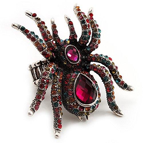 Unbekannt Übergroße Glaskristall Mehrfarbig Spider Stretch Cocktail Ring (Silber Ton) - Stretch-spider