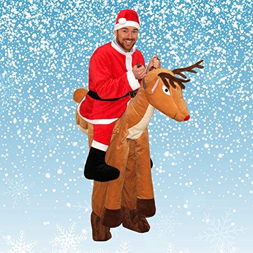 Piggy Rückseite Kostüm, Santa Ride auf Schulter Rudolph Carry Me, Weihnachten Erwachsene Fancy Dress Outfit