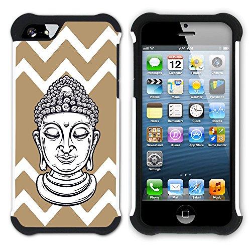 Graphic4You Buddha-Kopf Winkel Muster (Wasserblau) Hart + Weiche Kratzfeste Hülle Case Schale Tasche Schutzhülle für Apple iPhone SE / 5 / 5S Hellbraun