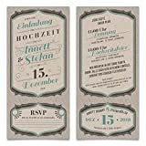 50 x Hochzeit Einladungskarten Einladung Abriss Antwortkarte - Vintage Letterpress Look