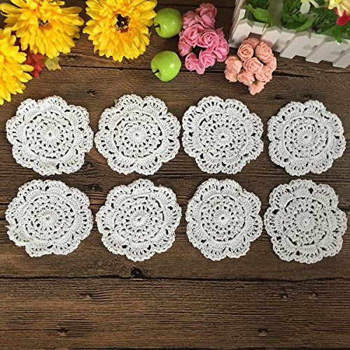 5\ Cup Size White : Elesa Miracle 4 Inch Handmade Small Round Crochet Cotton Lace Table Placemats Doilies for Cup / Glass Value Pack, 8pc, Cup Size, Beige / White (4