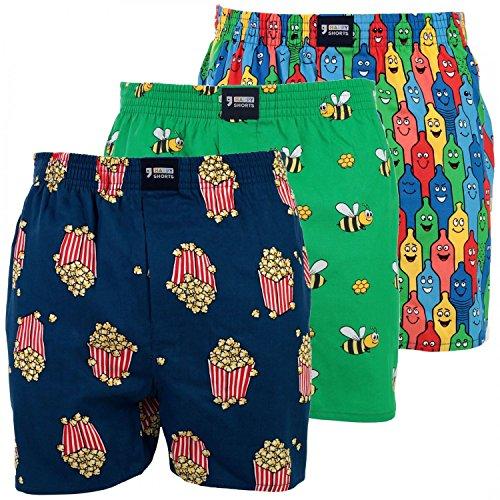 3 HAPPY SHORTS Webboxer Herren Boxer Motiv Boxershorts FARBWAHL , Grösse:XL - 7 - 54, Präzise Farbe:Design 3 (Boxer Bessere Shorts)