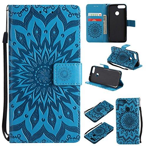 Hancda Hülle für Huawei Honor 9 Lite [Nicht für Honor 9], Leder Hülle Flip Case Handytasche für Huawei Honor 9 Lite Handy Hüllen Tasche Case Lederhülle Magnet Cover für Huawei Honor 9 Lite,Blume Blau