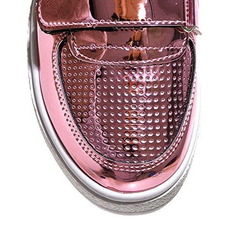 VogueZone009 Femme Velcro Rond à Talon Correct Pu Cuir Couleur Unie Chaussures Légeres Rose