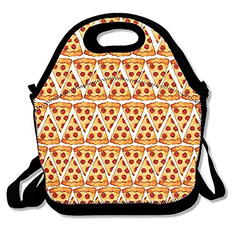 Neoprene Lunch Tote - Pizza Emoji Waterproof Reusable Lunch Box For Men Women Adults Kids Toddler Nurses With Adjustable Shoulder Strap - Best Travel Bag