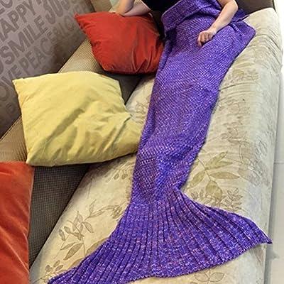 Renoliss Hecho a mano De punto Cola De Sirena Manta ,sofá Colcha Cuarto de estar manta sirena manta para adultos y niños 180cmX90cm(180.3cmx89.9cm )