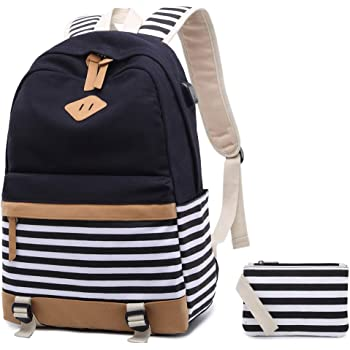 1f624737c60f Canvas Backpack School Bags set for Teens Girls School Backpack with USB  Charging Port