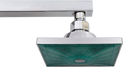 """Kitsch Automatic Led Illuminated Multicolour Water Spray 140mm(5""""X5"""") Square Abs Plastic Rain Shower Head With Long SS Square Shower Arm 375mm (15"""")"""