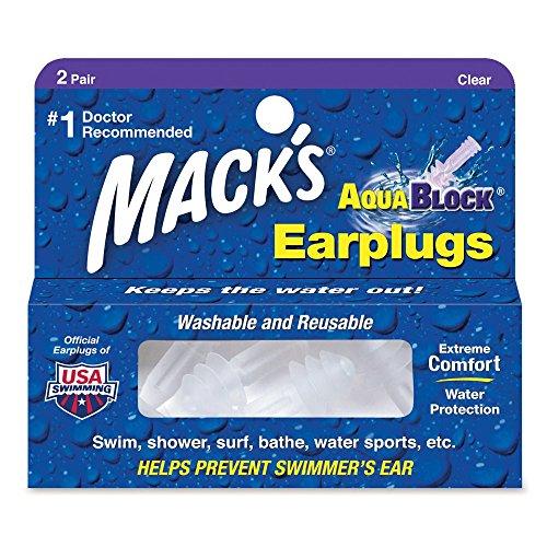 Macks Aqua Block - Tapones para los oídos para natación, color trans