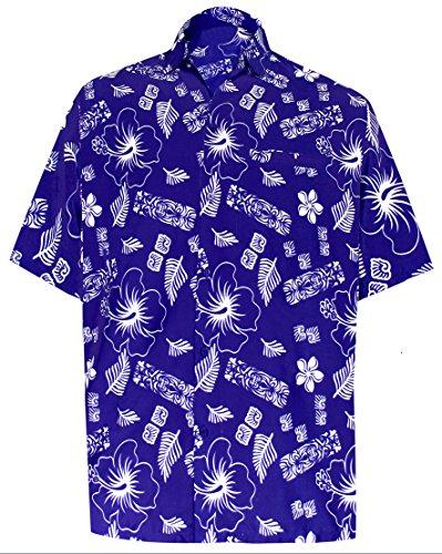 *La Leela* tikki Casuale Floreale buttotn Giù Manica Corta Camicia Hawaiana 1904 Royal Blu 504