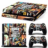Hambur® PS4 Console Designer Skin for Sony PlayStation 4 System plus Two(2) Decals for: PS4 Dualshock Controller --- Grand Theft Auto V 5 Game Series GTA V 5 by Hambur