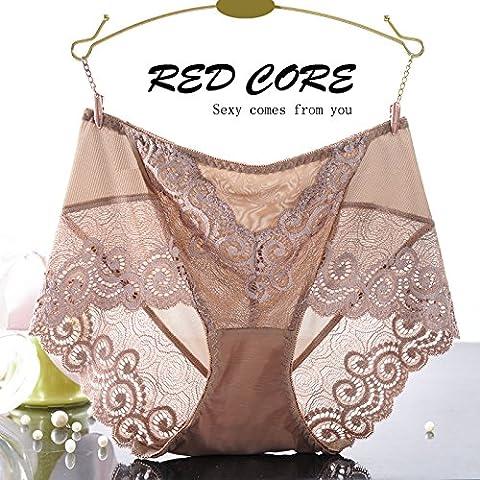 RangYR* biancheria intima sexy donna tentazione pizzo cintura di fluoroscopia intimo di garza femmina non-marking 3 Ms. Kok underwear , 2 ,7434, in marrone chiaro