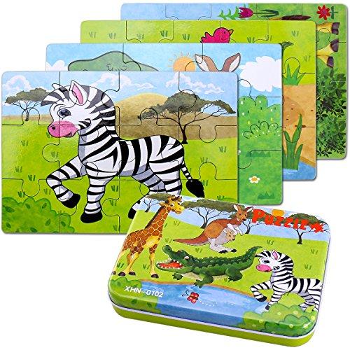 g ,64PCS Puzzle aus Holz ,Vier schwierigkeitsgrade Lernspielzeug Spiel für Kinder 3 4 5 Jahren Alt (Giraffe, Krokodil, Zebra, Känguru) , Metallkoffer Box. (Spiele Für Jungen-4 Jahre Alt)