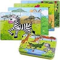 BBLIKE Jouet Puzzle en Bois pour Enfants, 4 Degrés Variables D'outil d'apprentissage, Jouet Éducatif Parfait Cadeau Anniversaire pour Garçons Filles de 3 Ans
