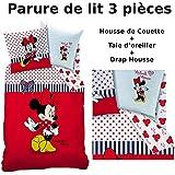 Minnie–Juego de cama (3pcs)–Funda de edredón (140x 200) + funda de almohada (63x 63) + sábana bajera (90x 190)–Imprimé Sweetie