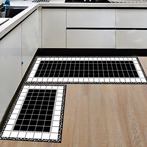 WEI Anti-Rutsch-Matte Küche Schlafzimmer Wasser absorbierenden Öl-Beweis-Matten Badezimmer Matten,Schwarz-Weiß-Mo,50 * 80 cm