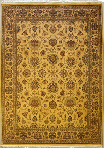 RugsTC 254 x 335 Pak Persian Area Rug with Wool Pile - Floral Design Hand-Knotted in Yellow,Orange,Green Colors | a 244 x 305 Rectangular Double Knot Rug -