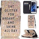 Ooboom® Samsung Galaxy S7 Edge Coque PU Cuir Flip Housse Étui Cover Case Wallet Stand avec Carte de Crédit Fentes Dragonne - Shine All Day