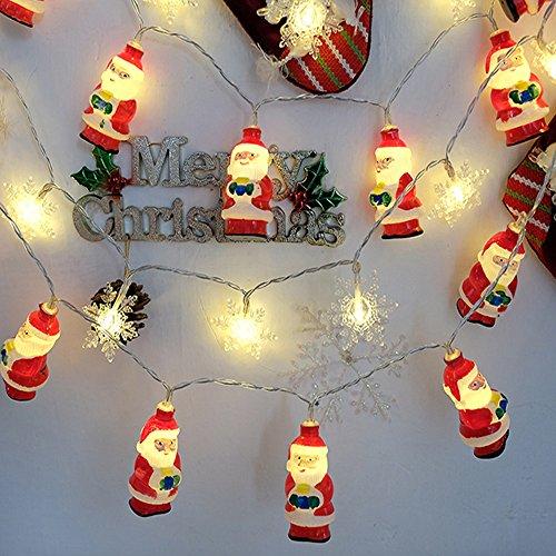 HUIHUI Wasserdicht 10/20 LEDs Santa Claus Lichterkette batteriebetrieben für Party, Garten, Weihnachten, Halloween, Hochzeit, Indoor & Outdoor Decor (Weiß 1,One size) ()