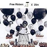 PuTwo Luftballons 50 stk Ø ca. 27cm Schwarz Marmor Party Dekoration für Hochzeit Geburtstag - Schwarz