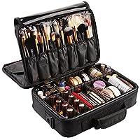Markliu Large Space Makeup Bag Brush Holder Travel Cosmetic Case with Adjustable Divider Black