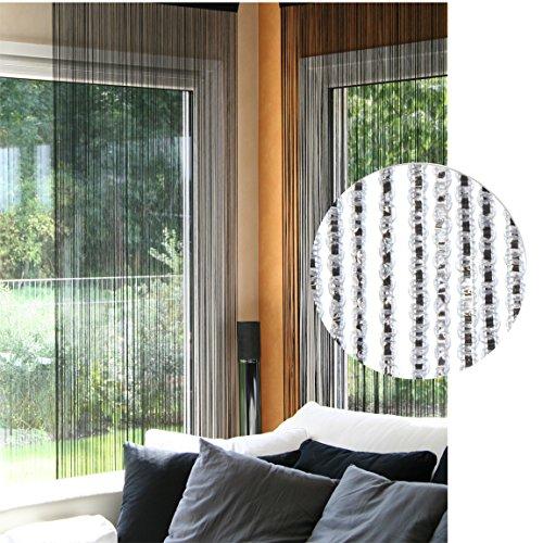 ng Fadengardine Silber Glitter Effekt 100 x 220 Vorhang mit Stangendurchzug 35 ()