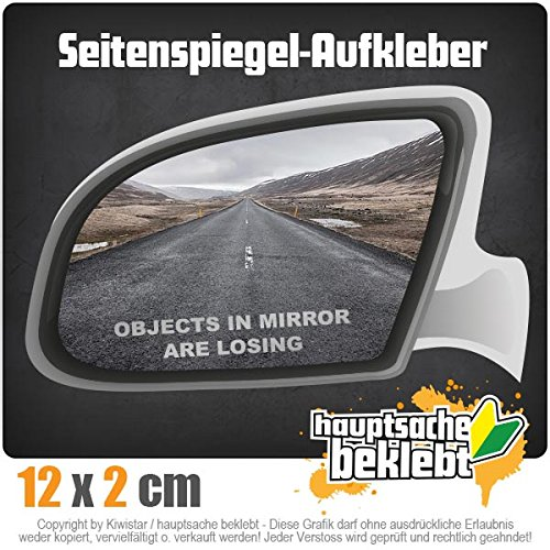objects in mirror are losing 12 x 2 cm IN 15 FARBEN - Neon + Chrom! Sticker Aufkleber