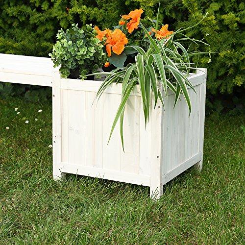 2 Blumenkästen mit Gartenbank in Weiß Holz Garten Bank Blumenkasten Holzbank - 4