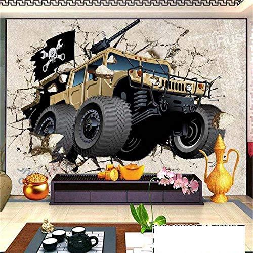 330w Auto (ZHENSI 3D Wandtattoo Benutzerdefinierte 3D Stereo-Foto-Roll-Größe Kinder Cartoon Gebrochenes Auto Wandbild Für Kinderzimmer TV Tapeten Hintergrund, 245 (H) × 330 (W) cm)