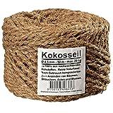 Ø 4.5 mm corde en noix de coco fil en noix de coco attache arbre ficelle de jardinage ruban de jardin en fibres de noix de coco 100% en fibres naturelles (Ø 4.5 mm - 50 m - capacité de charge max. 29 kg)