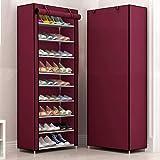 Sasimo Multipurpose Portable Folding Shoes Rack 9 Tiers Multi-Purpose Shoe Storage Organizer Cabinet Tower with Iron and Nonw