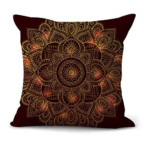 MEHOUSE Housse de Coussin,Fleur de Mandala Taie d'oreiller en Coton Et Lin Throw Pillow Case Cushion Cover Coussin Canapé Housse Coussin 45 * 45CM