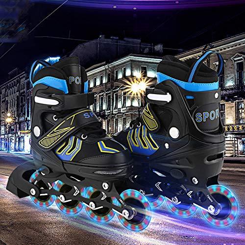 Inline-Skates Rollschuhe für Kinder/Jungen/Mädchen Canvas-Design verstellbar mit leuchtenden PU-Rädern Triple Protection Lightweight Inline-Skates (Blau2, S: 31-34 EU)