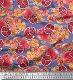 Soimoi Lila Baumwoll-Voile Stoff Blätter, Blumen und