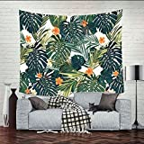 "Tropical palm hojas decoración tapiz patrón tejida Manta de sofá, tela de poliéster ligero hippie para colgar decoración de la pared, manta de playa, camino de mesa/gamuza (78 ""* 58"") (GT06), orange flower, 78""*58"""