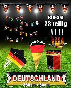 DEKO Fan-Set 23 Teilig Deutschland EM WM Fanartikel Fanpaket Dekoration Party-Deko