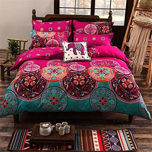 Bluelover 4Pcs Oriental Mandala Polyester Single Double Queen Size Bettwäsche Kissenbezüge Quilt Bettbezug Set - Königin 220 * 240Cm