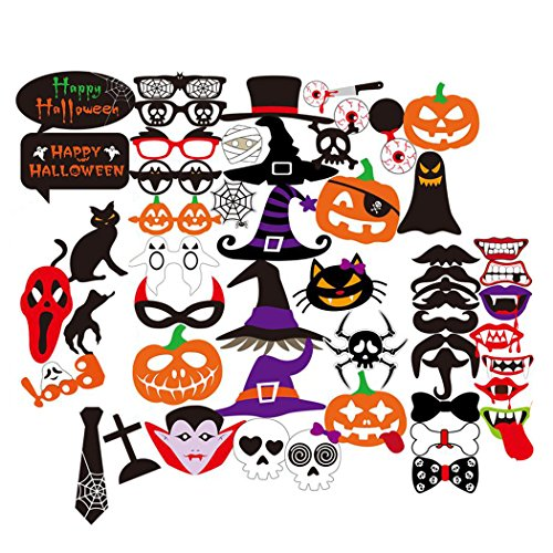 Foto Props, Fascigirl 52 Stück Halloween Deko Foto Booth Party Favors Hochzeit DIY Kit Photo Booth Props Für halloween (Halloween Props)